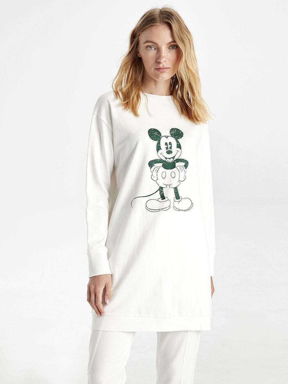 %100 Pamuk %100 Pamuk İki İplik Sweatshirt Standart Baskılı Orta Kalınlık Tunik Diz Üstü Mickey Mouse Baskılı Pamuklu Spor Tunik