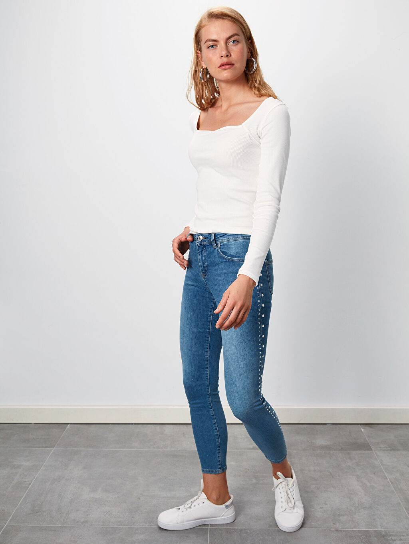 %84 Pamuk %14 Polyester %2 Elastan Normal Bel Dar Jean Bilek Boy Bilek Boy Skinny Jean Pantolon