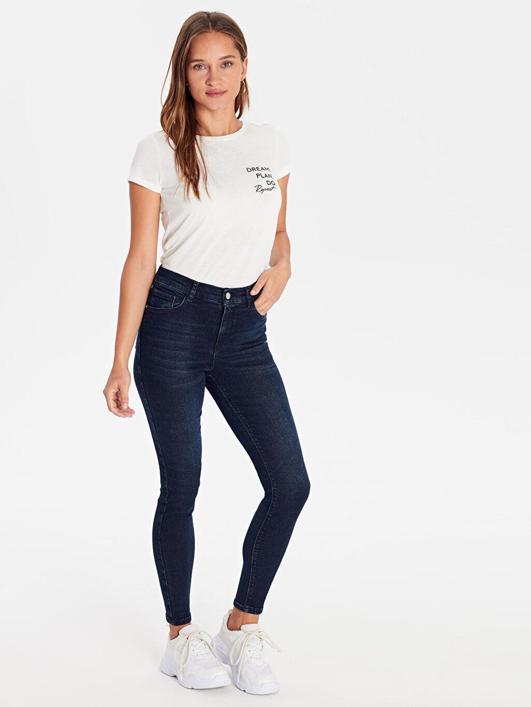 %99 Pamuk %1 Elastan Dar Jean Yüksek Bel Standart Super Skinny Jean Pantolon