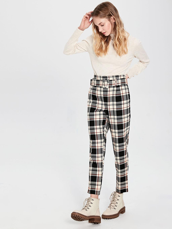 %65 Polyester %35 Viskoz Ekose Standart Normal Bel Pantolon Bilek Boy Bilek Boy Kemerli Ekose Havuç Pantolon