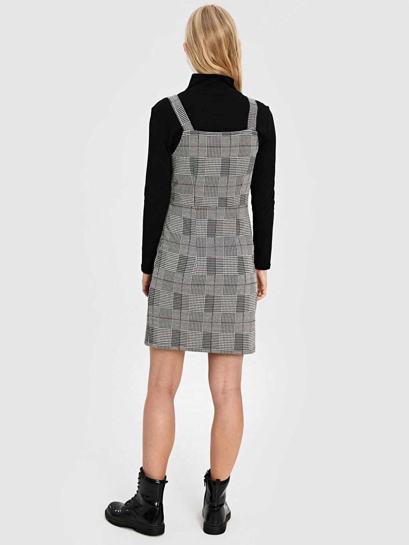 %69 Polyester %2 Elastan %29 Viskoz Askılı Ekose Elbise