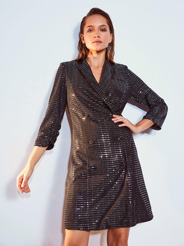 Gri Işıltılı Esnek Ceket Elbise 9WO390Z8 LC Waikiki