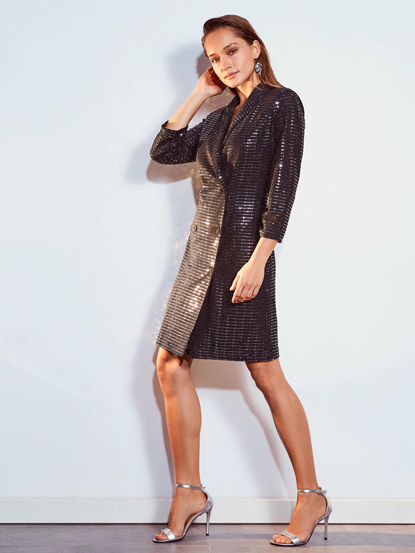 %93 Poliamid %4 Metalik iplik %3 Elastan %100 Polyester Uzun Kol Düğün/Nikah Ceket Yaka Penye Ceket Elbise Elbise Kısa Standart Baskılı Işıltılı Esnek Ceket Elbise
