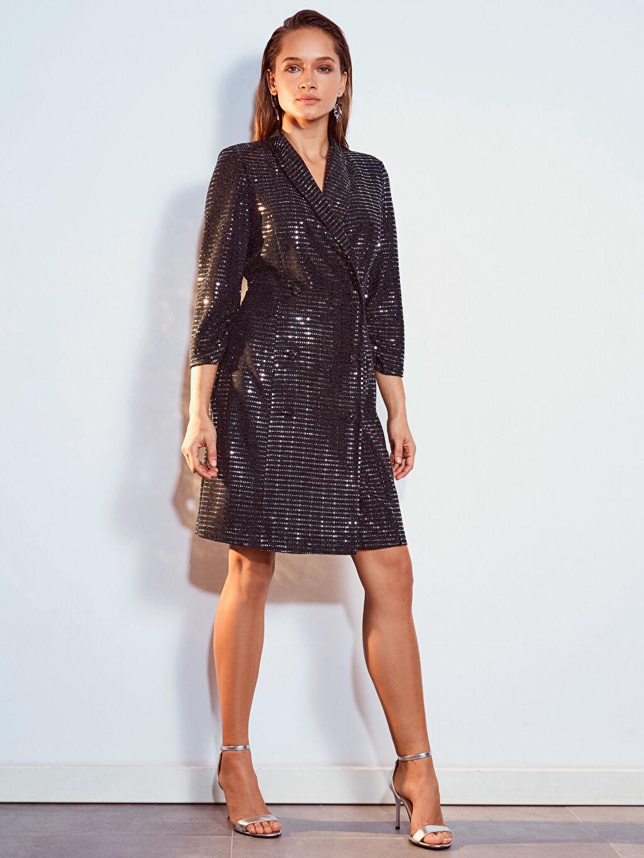 Kadın Işıltılı Esnek Ceket Elbise