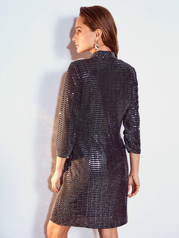 %93 Poliamid %4 Metalik iplik %3 Elastan Işıltılı Esnek Ceket Elbise
