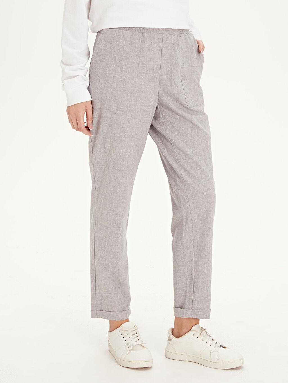 %64 Polyester %33 Viskon %3 Elastan Normal Bel Havuç Kesim Pantolon Beli Lastikli Havuç Pantolon