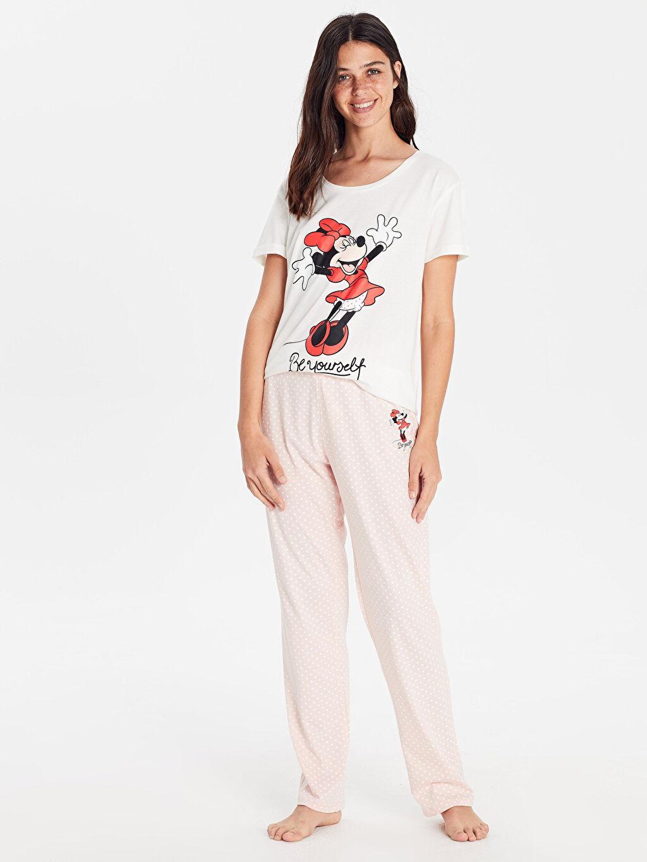 %100 Pamuk %100 Pamuk Penye Standart Pijama Takım Uzun Minnie Mouse Orta Kalınlık Kısa Kol Düz Minnie Mouse Baskılı Pamuklu Pijama Takımı