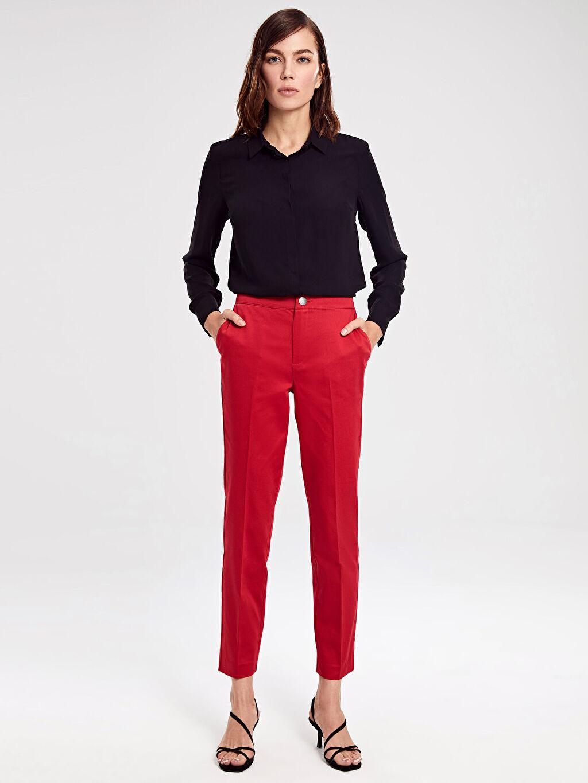 %66 Pamuk %31 Polyester %3 Elastan Yüksek Bel Bilek Boy Düz Havuç Kesim Pantolon Saten Yüksek Bel Havuç Pantolon