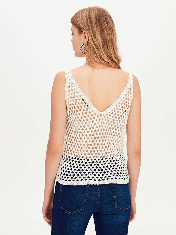 Kadın Kendinden Desenli Triko Bluz