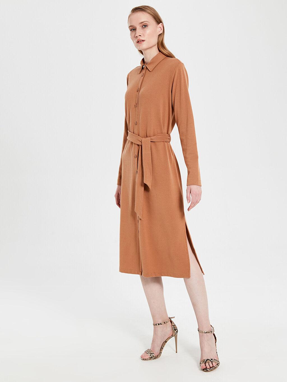 Kahverengi Kuşaklı Esnek Gömlek Elbise 9WQ362Z8 LC Waikiki