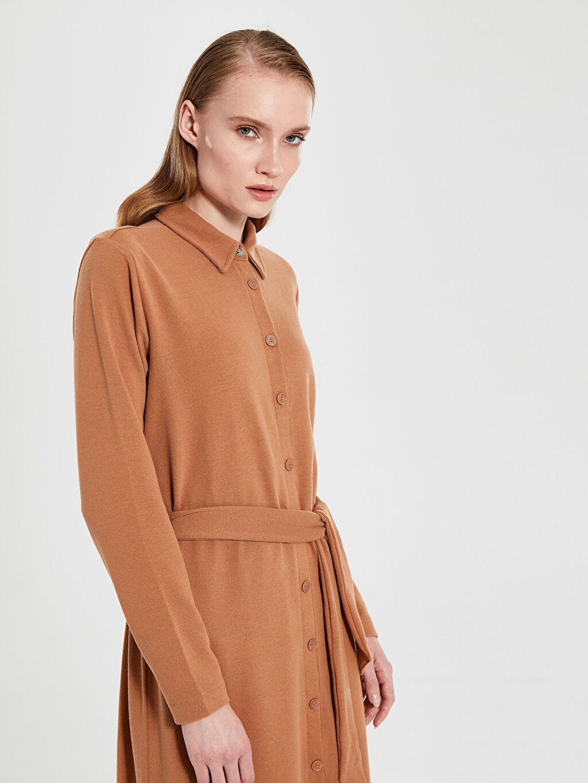 %38 Pamuk %58 Polyester %4 Elastan Uzun Kol Düz Ribana A Kesim Midi Ofis/Klasik Standart Gömlek Yaka Elbise Kuşaklı Esnek Gömlek Elbise