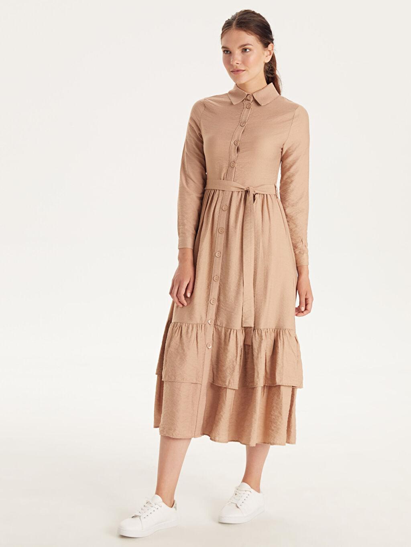 Bej Belden Kuşaklı Viskon Gömlek Elbise 9WQ459Z8 LC Waikiki