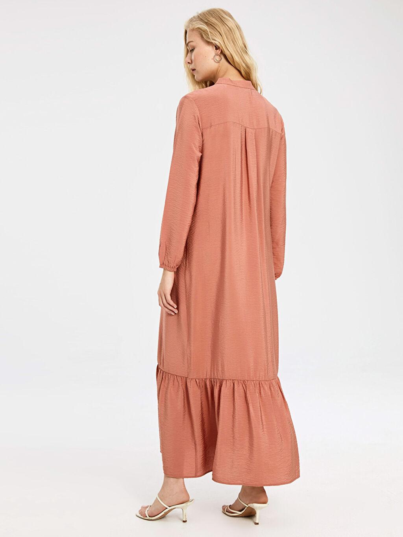 Kadın Fırfır Detaylı Uzun Viskon Hamile Elbise