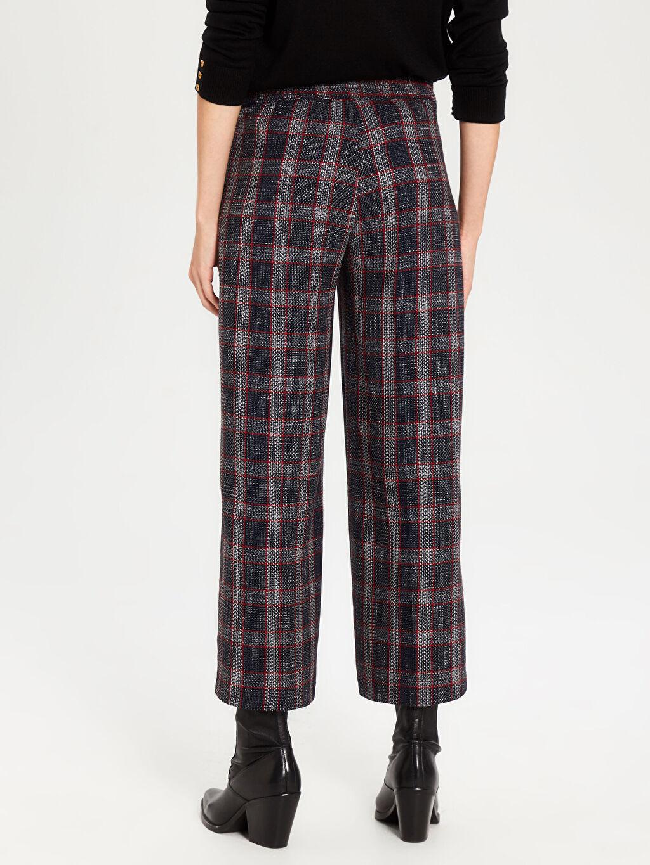 Kadın Bilek Boy Ekose Pantolon