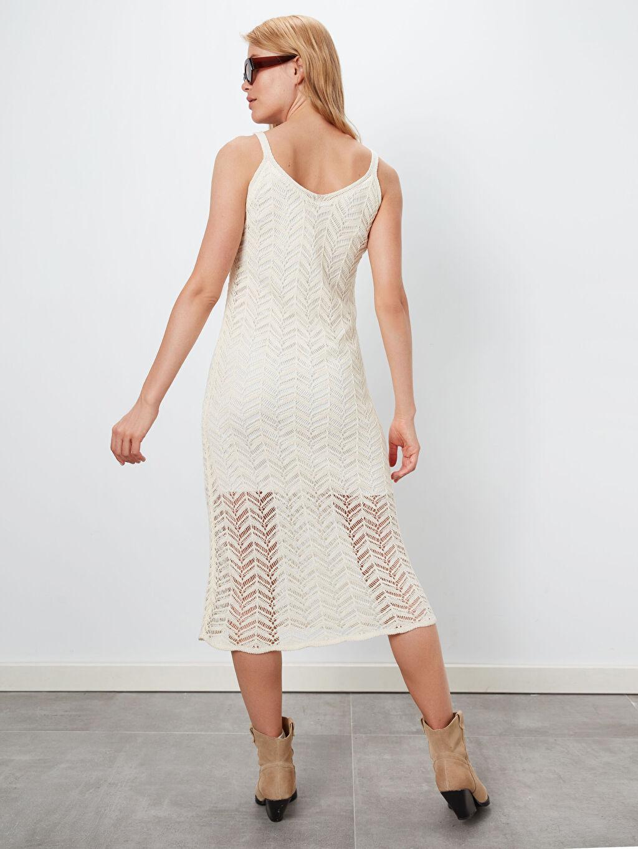 Kadın Kendinden Desenli Triko Elbise