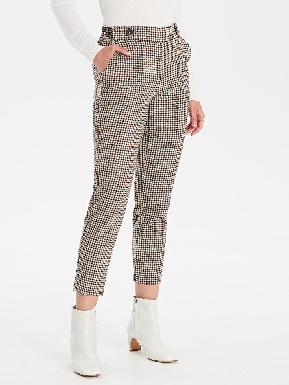 Kadın Beli Lastikli Ekose Havuç Pantolon
