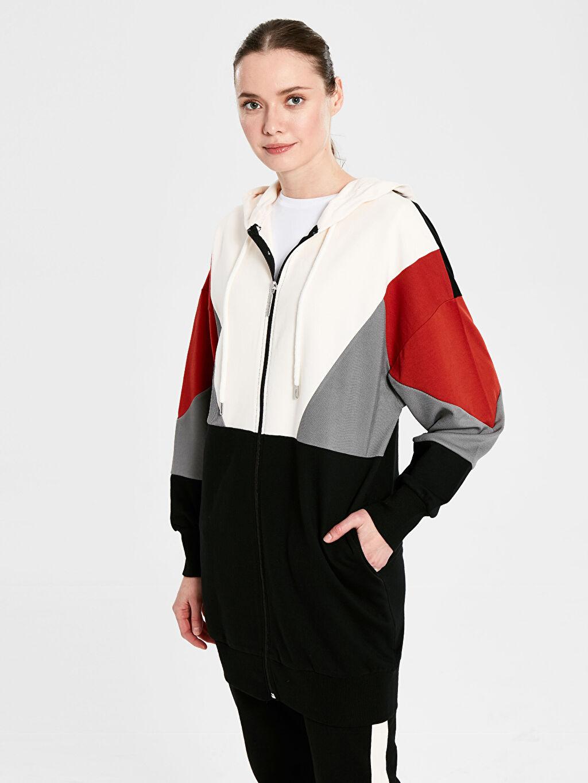 Kadın Renk Bloklu Kapüşonlu Pamuklu Tunik
