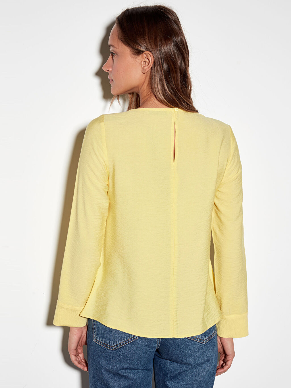 Kadın Düğme Detaylı Viskon Bluz