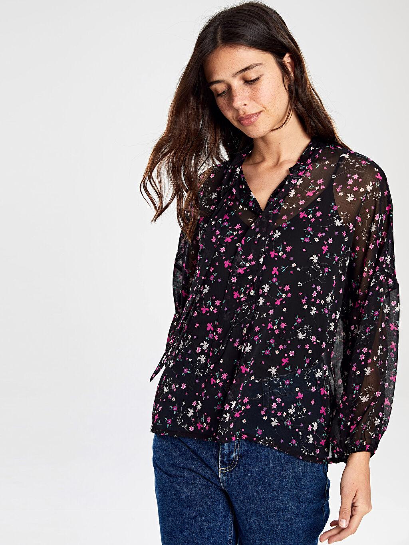 Kadın Çiçek Desenli Şifon Gömlek