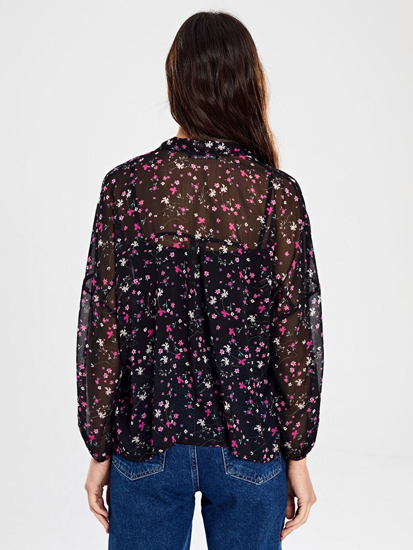 %100 Polyester Çiçek Desenli Şifon Gömlek