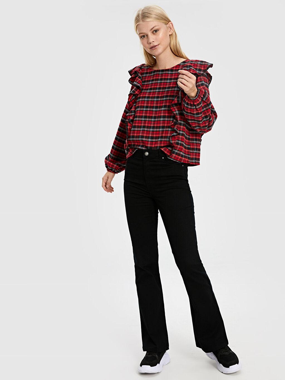 %98 Pamuk %2 Elastan Standart Normal Bel Jean Standart İspanyol Paça Jean Pantolon