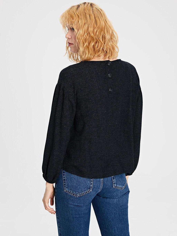 Kadın Kendinden Desenli Viskon Bluz