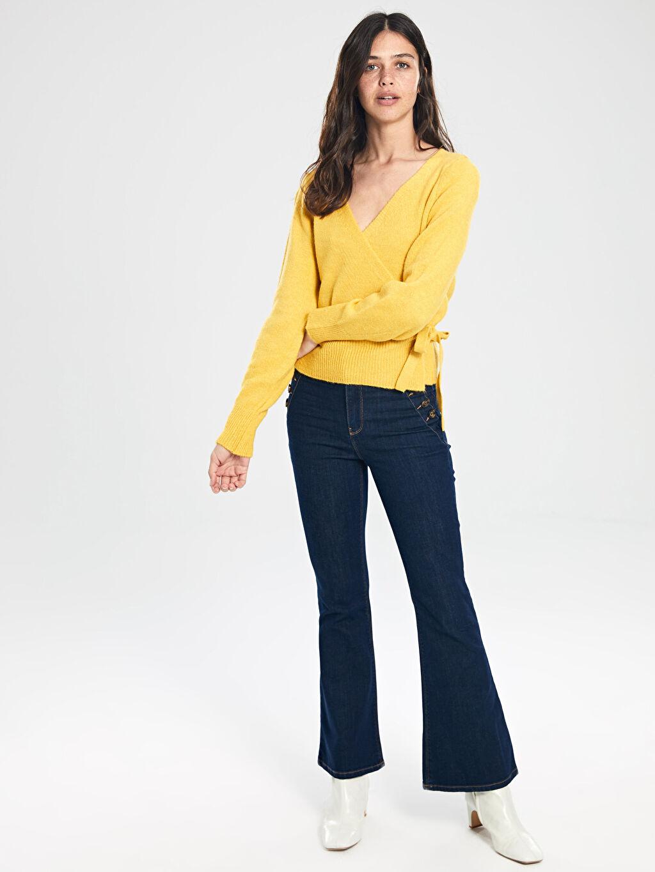 %99 Pamuk %1 Elastan Standart Uzun Jean Yüksek Bel İspanyol Paça Jean Pantolon