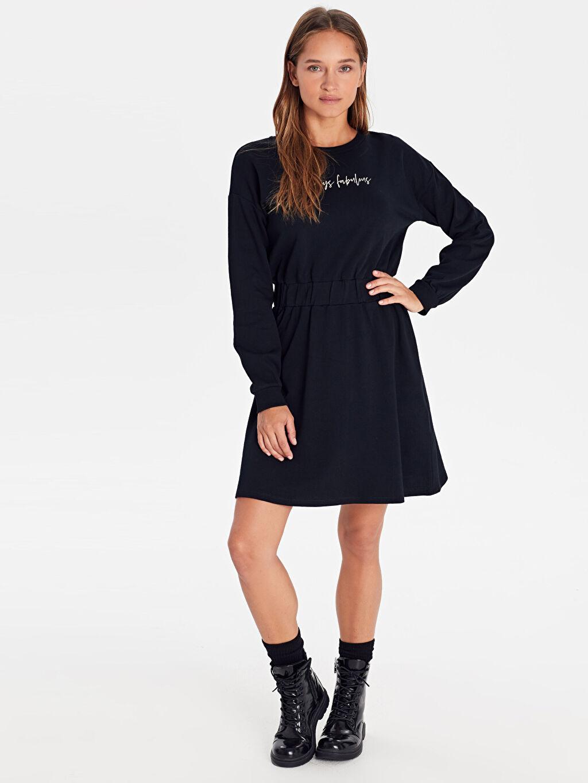 %100 Pamuk Elbise İnce Sweatshirt Kumaşı Kısa Sweatshirt Gömlek Yaka Baskılı Casual Uzun Kol %100 Pamuk Yazı Baskılı Beli Lastikli Pamuklu Elbise