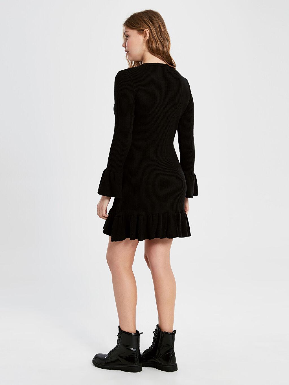 Kadın Fırfır Detaylı Mini Triko Elbise