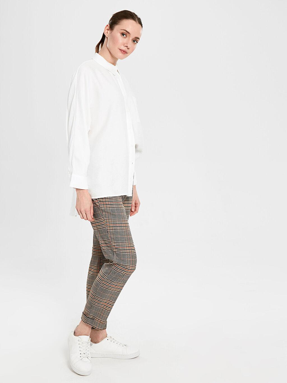 %63 Polyester %3 Elastan %34 Viskon Pantolon Bol Normal Bel Lastikli Bel Ekoseli Pantolon