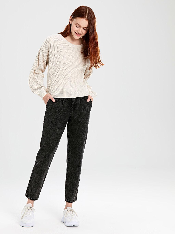%100 Pamuk %100 Pamuk Jean Standart Yüksek Bel Bol Yüksek Bel Jean Pantolon