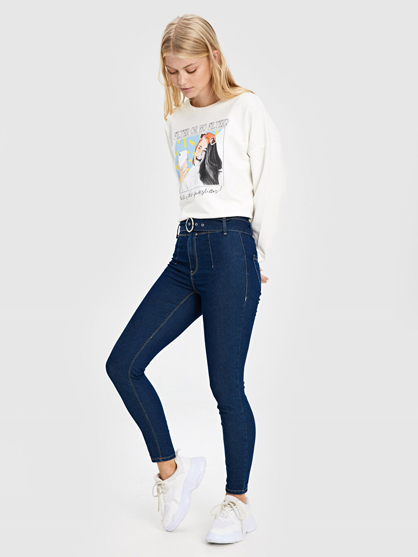 %74 Pamuk %24 Polyester %2 Elastan Dar Jean Standart Yüksek Bel Kemerli Super Skinny Jean Pantolon