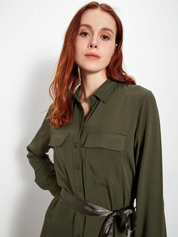 Kadın Kuşaklı Viskon Mini Elbise