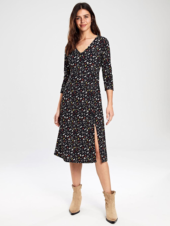 %98 Polyester %2 Elastan Günlük Maksi Uzun Kol Elbise Jarse Uzun Çiçekli Çiçek Desenli Elbise