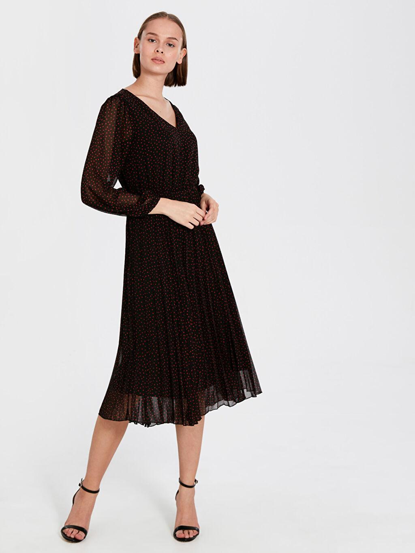 Siyah Desenli Şifon Elbise 9WU224Z8 LC Waikiki