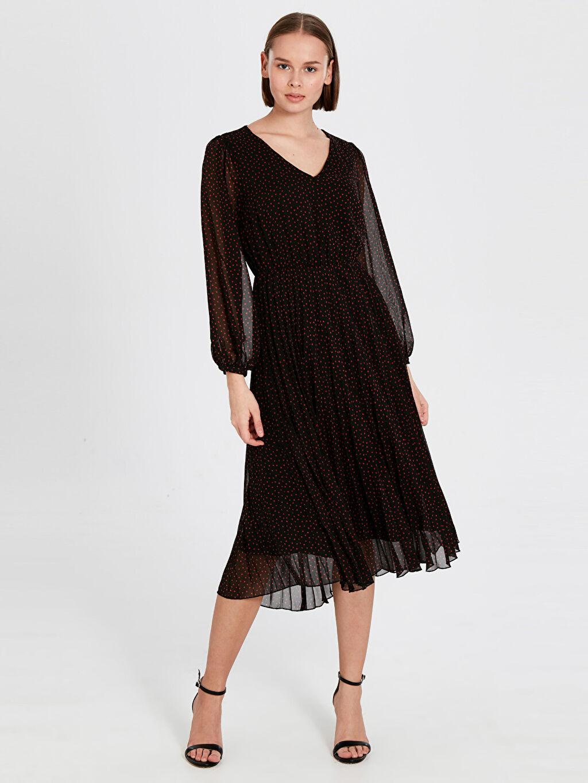 %100 Polyester %100 Polyester Ofis/Klasik Standart Şifon V Yaka Elbise Uzun Kol Düz A Kesim Midi Desenli Şifon Elbise