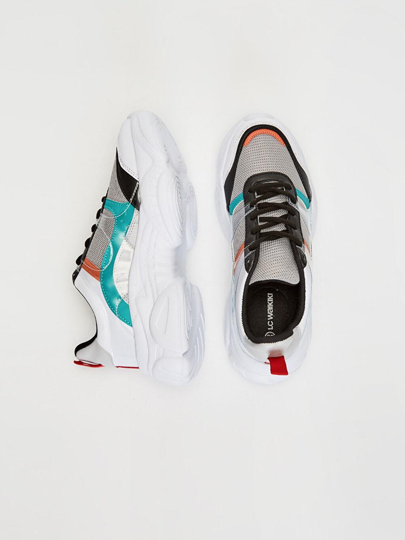 Tekstil malzemeleri Diğer malzeme (poliüretan) Tekstil malzemeleri Düz Standart Sneaker Yuvarlak Burun 3 cm Kadın Kalın Taban Spor Ayakkabı
