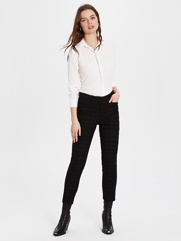 %63 Polyester %3 Elastan %34 Viskon Normal Bel Pantolon Sigaret Ekose Bilek Boy Bilek Boy Cigarette Kumaş Pantolon