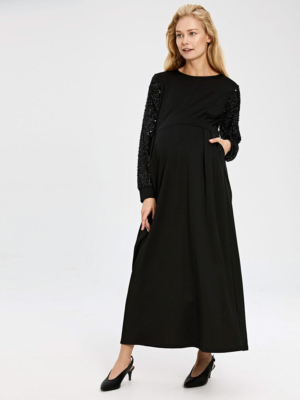 Siyah Kolları Pul Nakışlı Uzun Hamile Abiye Elbise 9WU910Z8 LC Waikiki