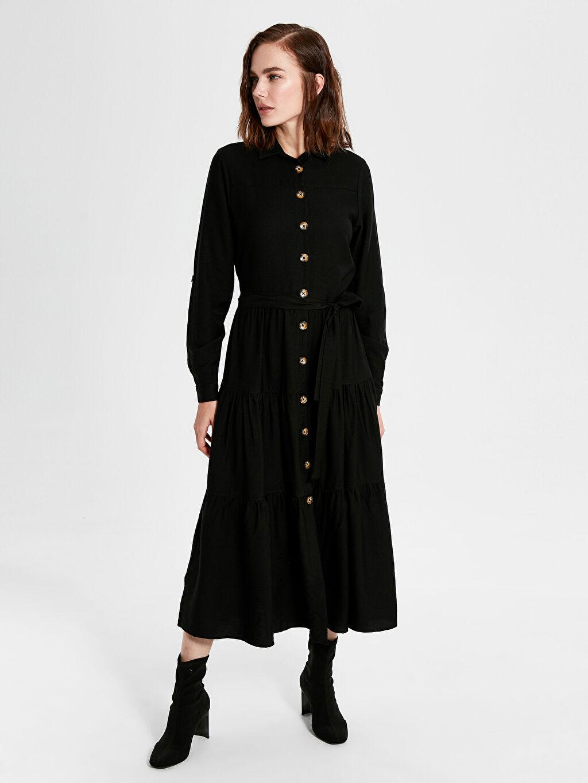%9 Poliamid %91 Viskoz Uzun Kol Düz Ofis/Klasik Standart Astarsız Uzun Gipsy Elbise Düğme Detaylı Kuşaklı Uzun Elbise