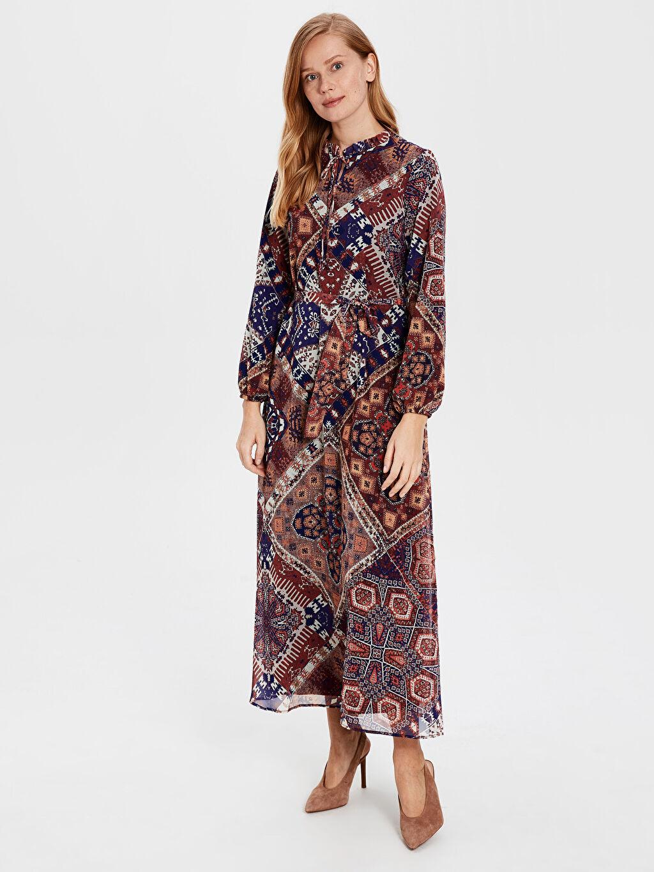 %100 Polyester %100 Polyester Şifon Uzun Kol Astarlı A Kesim Ofis/Klasik Standart Baskılı Uzun Elbise Desenli Şifon Elbise
