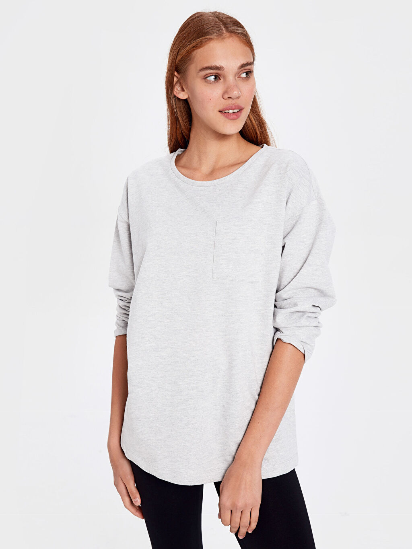 %50 Pamuk %50 Polyester %100 Pamuk Orta Kalınlık Uzun Kol Düz Pijama Üst İnce Sweatshirt Kumaşı Aksesuarsız Standart Cep Detaylı Düz Basic Pijama Üst