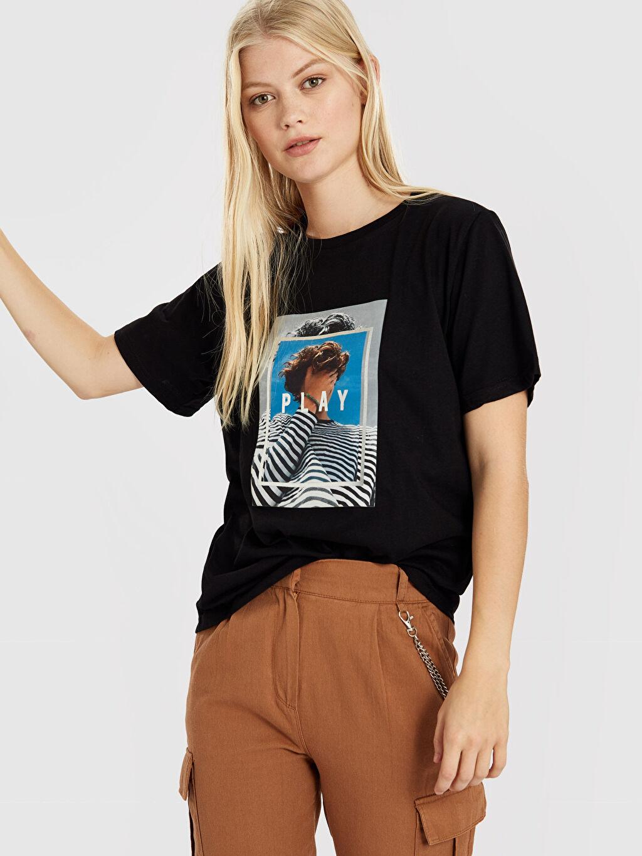 Kadın Quzu Baskılı Pamuklu Tişört