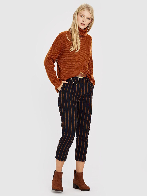Havuç Kesim Pantolon Yüksek Bel Quzu Çizgili Havuç Pantolon