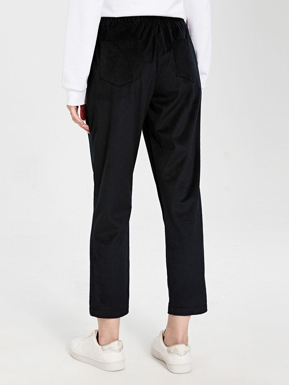 %100 Polyester Pantolon Kadife Standart Normal Bel Beli Lastikli Kadife Harem Pantolon