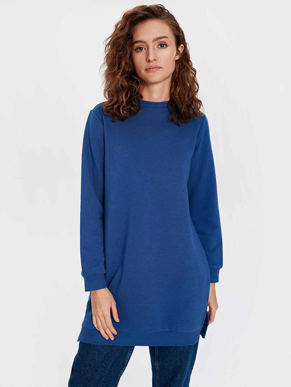 %67 Pamuk %33 Polyester Düz Tunik Kalın Sweatshirt Kumaşı Sweatshirt Kalın Standart Diz Üstü Düz Basic Sweatshirt