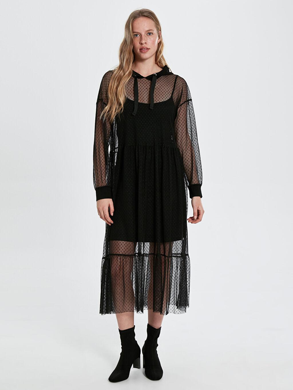 Siyah Quzu Kapüşonlu Desenli Tül Elbise 9WA688Z8 LC Waikiki