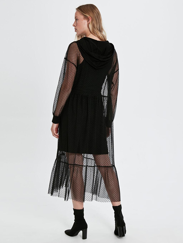 Uzun Kol Elbise Baskılı Quzu Kapüşonlu Desenli Tül Elbise