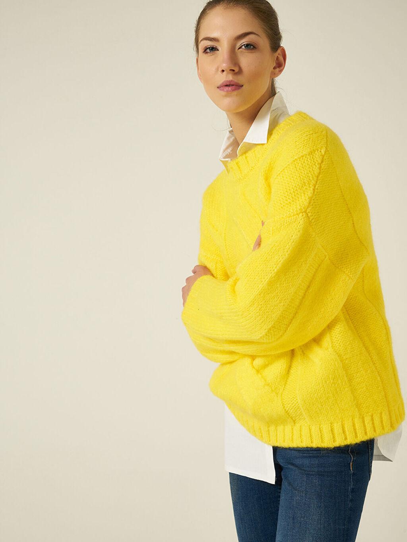 Kadın Join Us Saç Örgüsü Desenli Triko Kazak