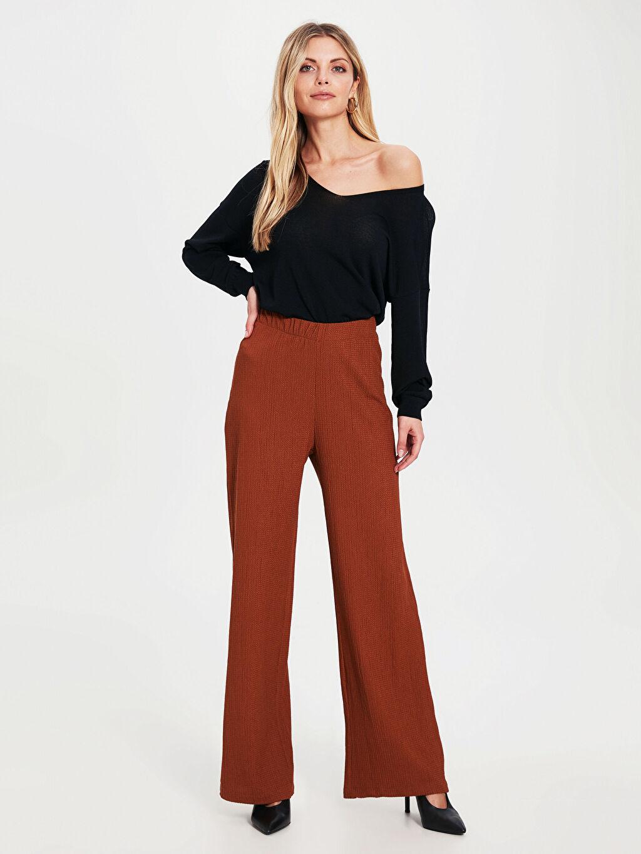 %99 Polyester %1 Elastan Standart Pantolon Geniş Paça Yüksek Bel Süprem Dokulu Kumaştan Beli Lastikli Palazzo Pantolon